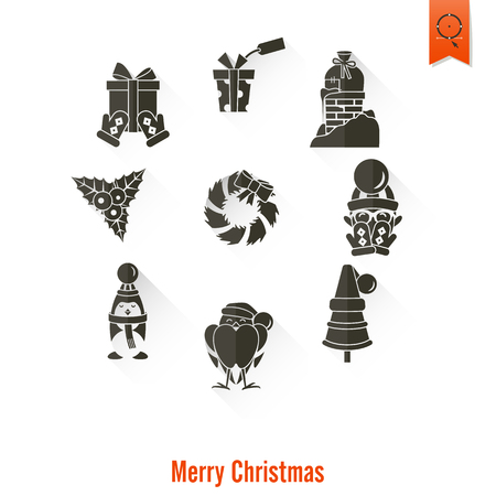 Christmas and Winter Icons Collection. Long Shadow. Simple and Minimalistic Style. Vector Illustration