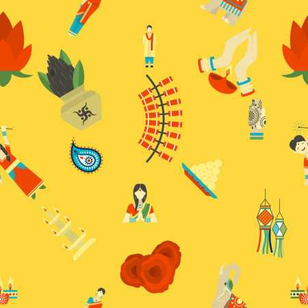 pooja: Diwali - Indian Festival Background. Seamless Pattern. Vector