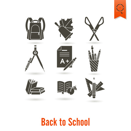 table lamp: School and Education Icon Set. Flat design style. Vector