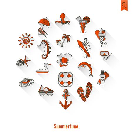 pez vela: Verano y playa simple iconos planos, viajes y vacaciones. Foto de archivo