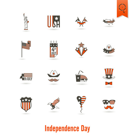 4th of July, Independence Day of the United States, Simple Flat Icons. Stock Photo