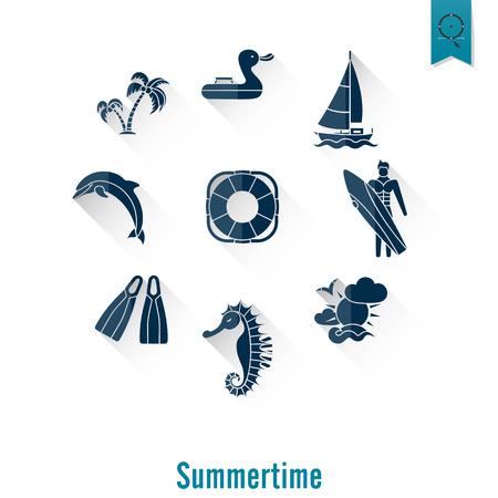 pez vela: Verano y Playa iconos planos simples, viajes y vacaciones.