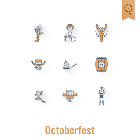 Oktoberfest Beer Festival. Long Shadow. Flat design style. Vector Illustration
