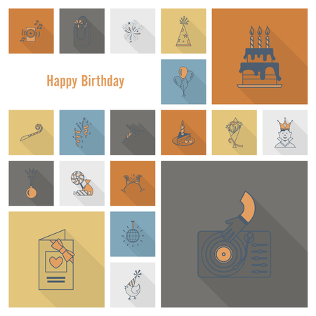 love explode: Happy Birthday Icons Set. Simple, Minimalistic and Flat Style. Retro Color. Long Shadow. Vector