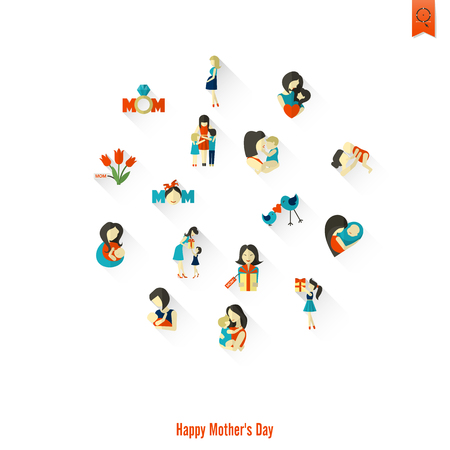 Happy Mothers Day Simple Flat Icons. Vector, Clean Work, Minimum Points