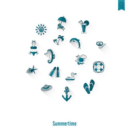 pez vela: Verano y Playa iconos planos simples, viajes y vacaciones. Vector