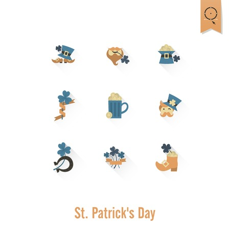 Día De San Patricio Icono Aislado Conjunto. . Puntos mínimos de trabajo limpio
