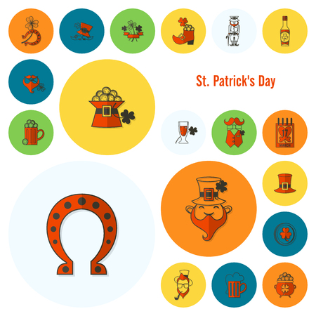 Saint Patricks Day Icon Set. . Clean Work Minimum Points