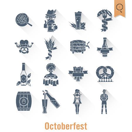 Oktoberfest Beer Festival. Long Shadow. Flat design style. Vector Illustration