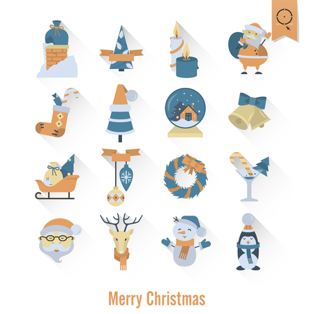 mitten: Christmas and Winter Icons Collection. Retro Color. Long Shadow. Simple and Minimalistic Style. Stock Photo