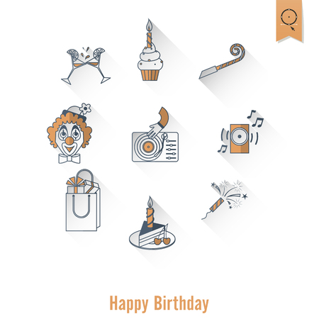 Happy Birthday Icons Set. Simple, Minimalistic and Flat Style. Retro Color. Long Shadow. Vector