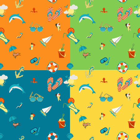 pez vela: Four Background in Different Colors, Summer and Beach.