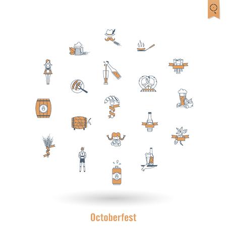 german sausage: Oktoberfest Beer Festival. Flat design style. Vector
