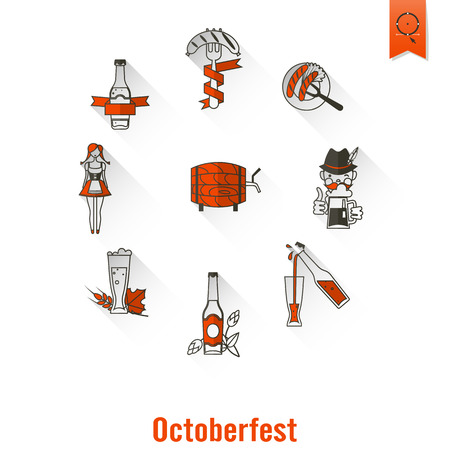 german sausage: Oktoberfest Beer Festival. Long Shadow. Flat design style. Vector Illustration