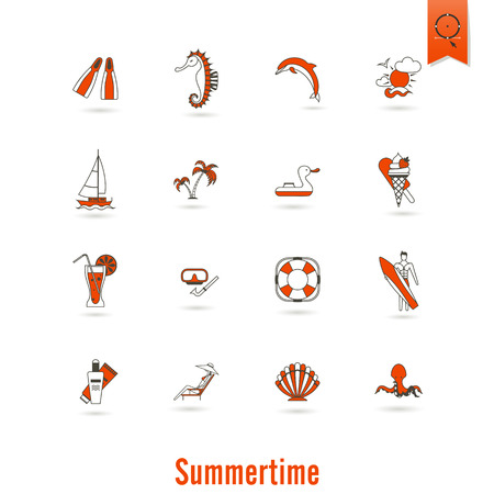 pez vela: Summer and Beach Simple Flat Icons, Travel and Vacation.