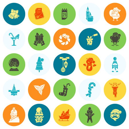 mitten: Christmas and Winter Icons Collection. Colorful. Simple and Minimalistic Style. Vector Illustration