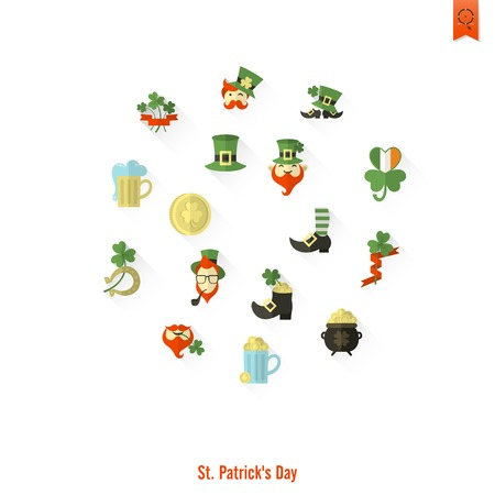 Saint Patricks Day Isolated Icon Set. Vector. Clean Work Minimum Points Illustration