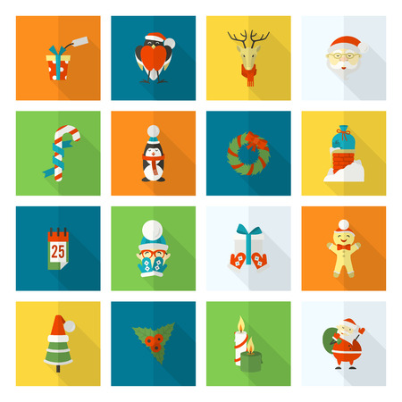 long socks: Christmas and Winter Icons Collection. Colorful. Long Shadow. Simple and Minimalistic Style. Stock Photo