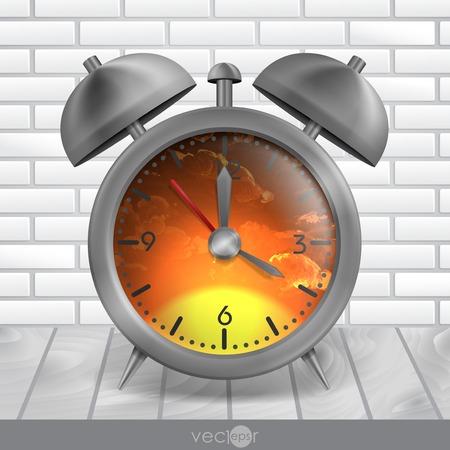 Metal Classic Style Alarm Clock. Vector Illustration. Eps 10