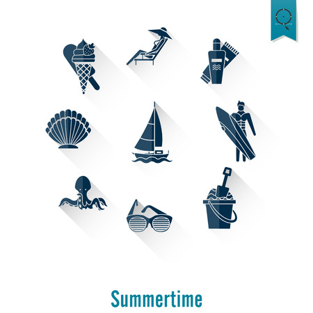 pez vela: Summer and Beach Simple Flat Icons, Travel and Vacation. Vector Vectores