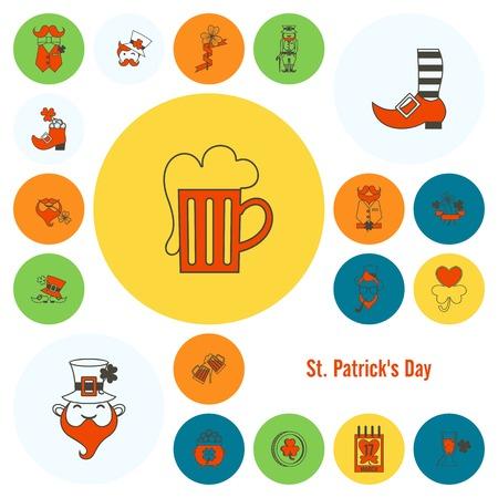 quatrefoil: Saint Patricks Day Icon Set. Clean Work Minimum Points