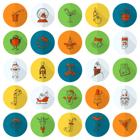Christmas and Winter Icons Collection. Colorful. Long Shadow. Simple and Minimalistic Style. Vector Illustration
