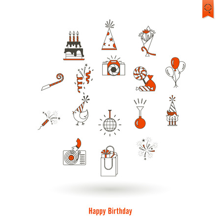 Happy Birthday Icons Set. Simple, Minimalistic and Flat Style. Vector