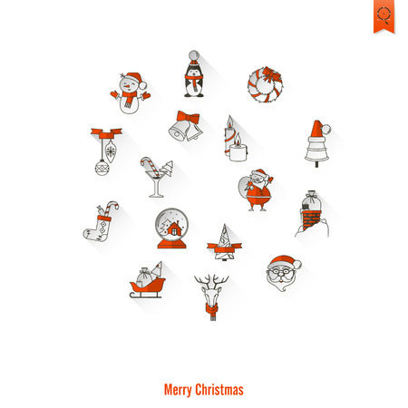 mitten: Christmas and Winter Icons Collection. Long Shadow. Simple and Minimalistic Style. Vector Illustration