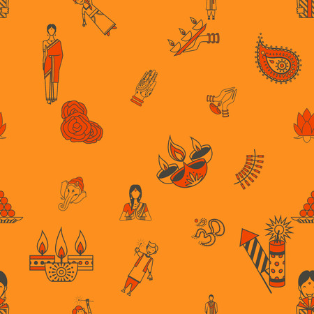 aum: Diwali - Indian Festival Background. Seamless Pattern. Vector