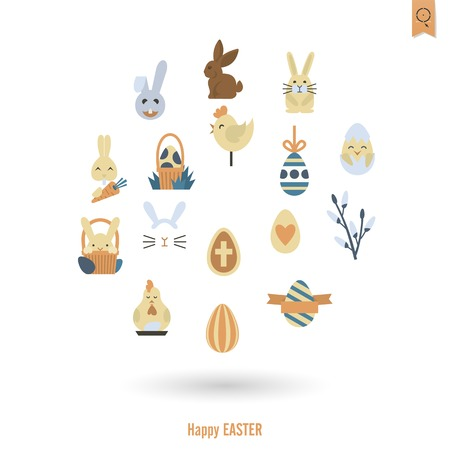 Celebration Easter Icons. . Clean Work Minimum Points Stock Photo