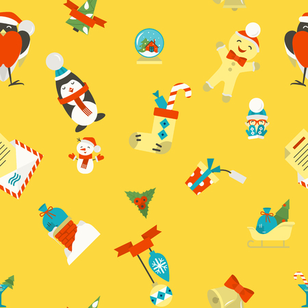 santas sack: Christmas Seamless Pattern Background. Colorful. Simple and Minimalistic Style.