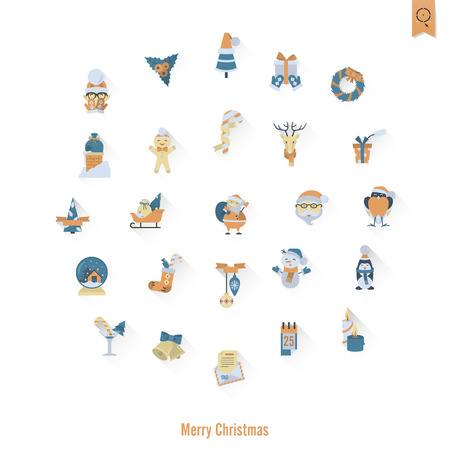 mitten: Christmas and Winter Icons Collection. Retro Color. Long Shadow. Simple and Minimalistic Style. Vector