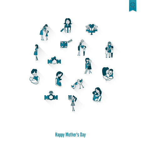 Happy Mothers Day Simple Flat Icons. , Clean Work, Minimum Points Stock Photo