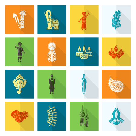 om: Diwali. Indian Festival Icons. Simple and Minimalistic Style.