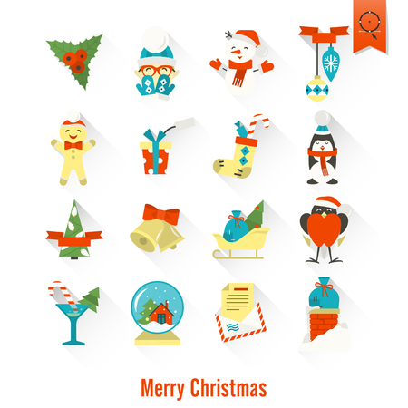 mitten: Christmas and Winter Icons Collection. Colorful. Long Shadow. Simple and Minimalistic Style. Vector Illustration