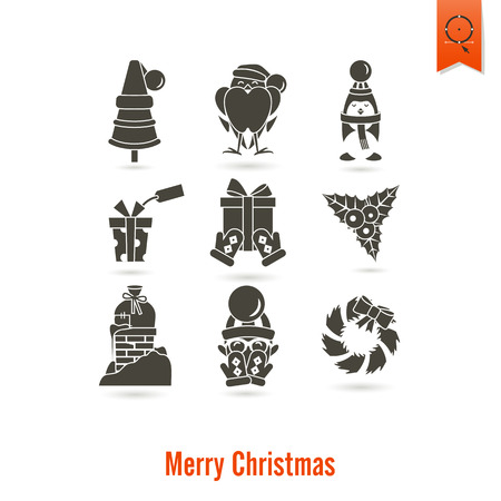 mitten: Christmas and Winter Icons Collection. Simple and Minimalistic Style. Vector