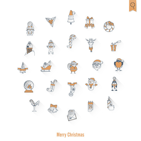 long socks: Christmas and Winter Icons Collection. Retro Color. Long Shadow. Simple and Minimalistic Style. Vector