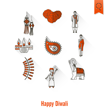 fire flower: Diwali. Indian Festival Icons. Simple and Minimalistic Style.