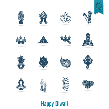 om: Diwali. Indian Festival Icons. Simple and Minimalistic Style. Vector