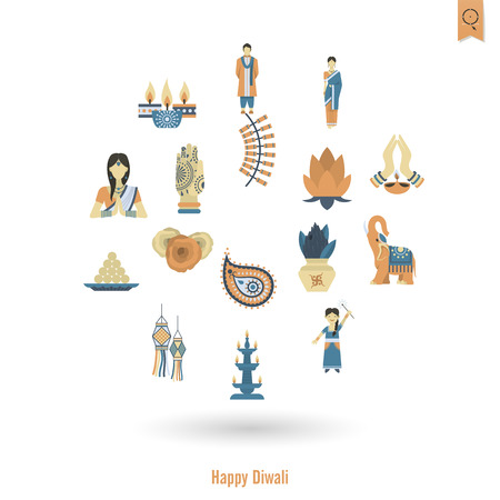 fire flower: Diwali. Indian Festival Icons. Simple and Minimalistic Style. Vector