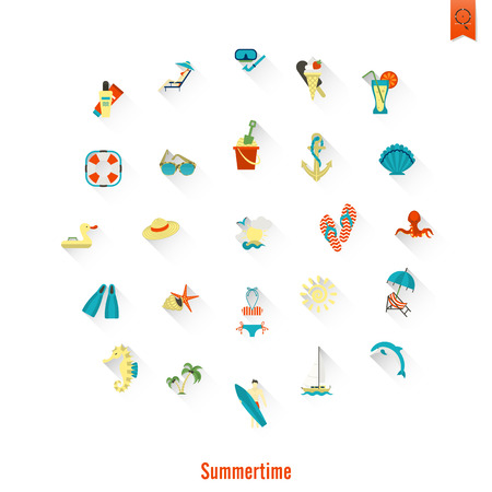 Summer and Beach Simple Flat Icons, Travel and Vacation. Vector Illustration