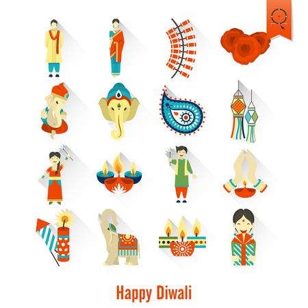 om: Diwali. Indian Festival Icons