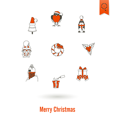 santa sleigh: Christmas and Winter Icons Collection. Simple and Minimalistic Style. Vector