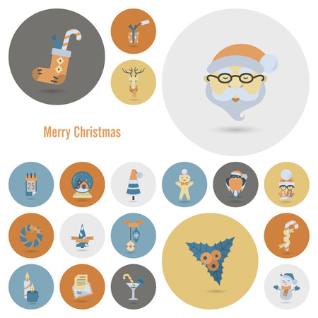 santa sleigh: Christmas and Winter Icons Collection. Retro Color. Simple and Minimalistic Style. Vector