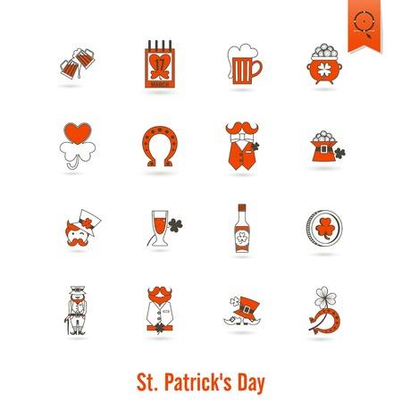 quatrefoil: Saint Patricks Day Isolated Icon Set Stock Photo