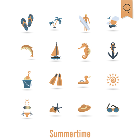pez vela: Summer and Beach Simple Flat Icons Vectores