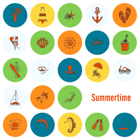 sunbath: Summer and Beach Simple Flat Icons Illustration