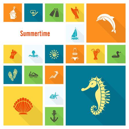 to sunbathe: Summer and Beach Simple Flat Icons Illustration
