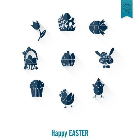easter cake: Celebration Easter Icons Stock Photo