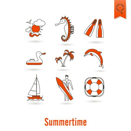 pez vela: Verano y playa simple iconos planos Foto de archivo